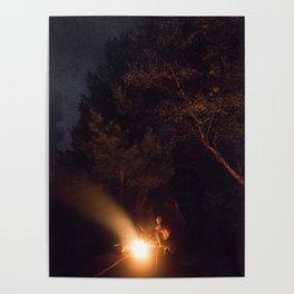 Night by campfire Poster