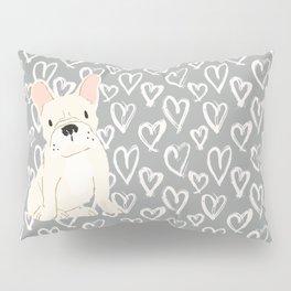 Cream French Bulldog and Hearts Pillow Sham