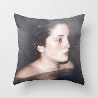 siren Throw Pillows featuring Siren by emmacanfield