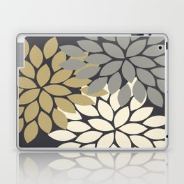 Bold Colorful Gold Ivory Charcoal Grey Dahlia Flower Burst Petals Laptop & iPad Skin