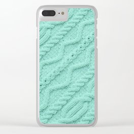 Seafoam Mint Cableknit Clear iPhone Case