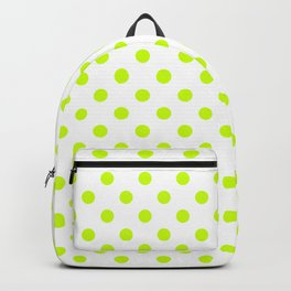 Small Polka Dots - Fluorescent Yellow on White Backpack