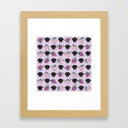 Black lab florals labrador retriever dog breed pet friendly pattern flowers bouquet Framed Art Print