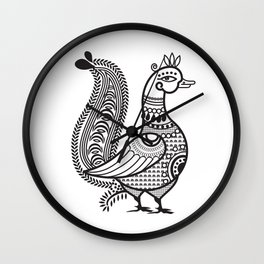 Ethic Indian Duck Bird B&W Wall Clock