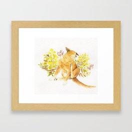 Watercolor Taiwan Dog -Yellow Framed Art Print