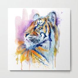 Young Tiger Watercolor Portrait Metal Print