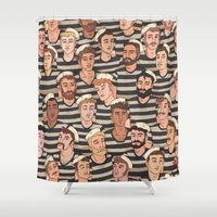 boys Shower Curtains featuring Boys, Ahoy! by Rory Midhani