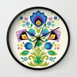 Wycinanki Blue and Lavender Floral Wall Clock