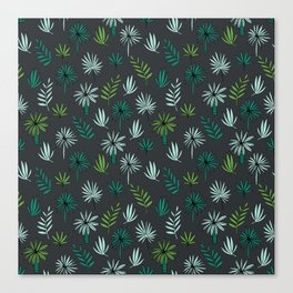 Palm tropical illustration by andrea lauren palm leaves palm trees desert island Canvas Print