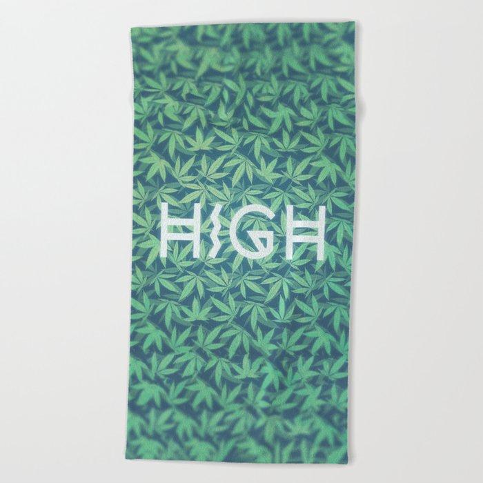 HIGH TYPO! Cannabis / Hemp / 420 / Marijuana  - Pattern Beach Towel