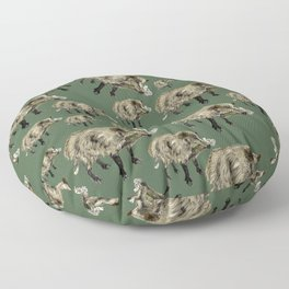 Wildboar pattern in green Floor Pillow
