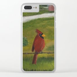 Kevin the cardinal loves to sing his heart out on the farm Clear iPhone Case