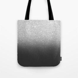 Modern faux silver glitter ombre grey black color block Tote Bag