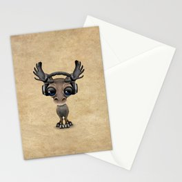 Cute Musical Moose Dj Wearing Headphones Stationery Cards