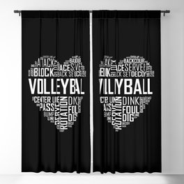 Love Volleyball Heart Blackout Curtain