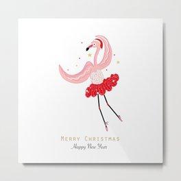 Dancing Flamingo Metal Print