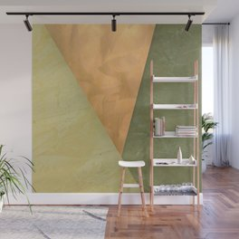 Golden Triangle With Green and Cream - Corbin Henry Color Field Wall Mural