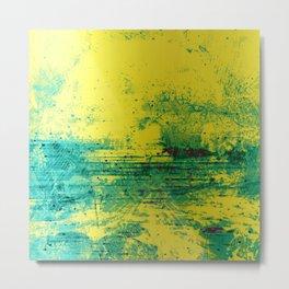 Yellow and Teal Grunge Metal Print