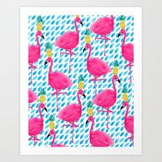 Party Flamingos Art Print