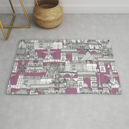 Paris toile raspberry Rug