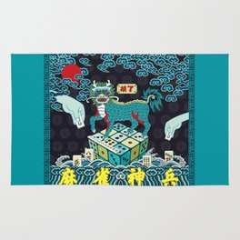 A Beast in human clothing - Chinese military official uniform pattern - Mahjong master Rug