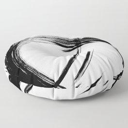 Black Abstract Brush Strokes nr 8 Floor Pillow