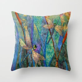 Colorful Dragonflies Throw Pillow