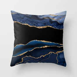 Beautiful Sapphire And Gold Marble Design Throw Pillow