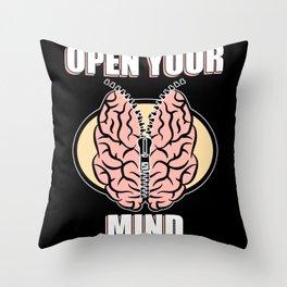 Open Mind Openness Mindset Brain Throw Pillow