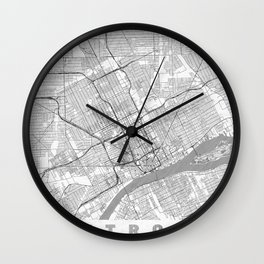 Detroit Map Line Wall Clock