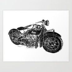 Vintage Indian Motorcycle Art Print