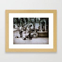 Street Band Busking Framed Art Print