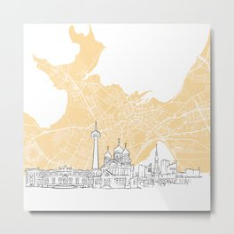 Tallinn Estonia Skyline Map Metal Print