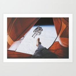 Camping in space Art Print