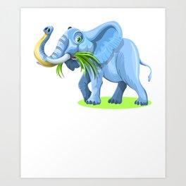 Blue Elephant Cartoon Artwork Art Print