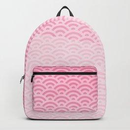 Bubblegum Pink Watercolor Seigaiha Pattern Backpack