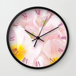 Light pink tulips macro inside Wall Clock