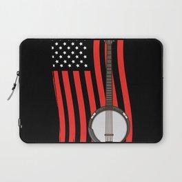American Flag Banjo Banjo Player Gift Laptop Sleeve