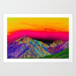 California's Sierra Mts-Digital Art, Green & Purple Art Print