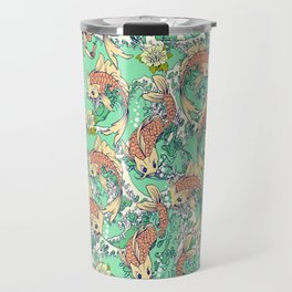 Golden Koi Fish in Pond Travel Mug