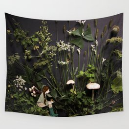 Bridie and the Robins in the Forest of Shamrocks Wall Tapestry