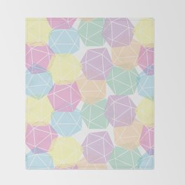 Pastel D20 Pattern Dungeons and Dragons Dice Set Throw Blanket