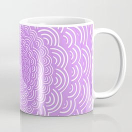 Spiral Mandala (Violet Purple) Curve Round Rainbow Pattern Unique Minimalistic Vintage Zentangle Coffee Mug