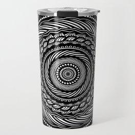 Black Swirl Spiral Mandala Detailed Eclectic Ethnic Spiritual Design (Black and White) Travel Mug