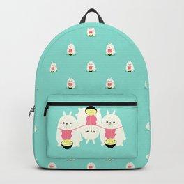 Fat bunny eating noodles pattern Backpack