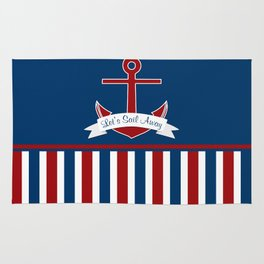 Red White and Blue Let's Sail Away Rug