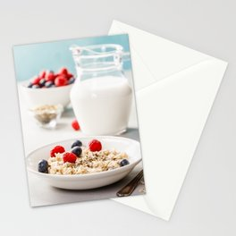 Oatmeal porridge with fresh berries and almond milk Stationery Cards