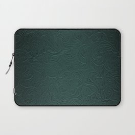 Forest Green Tooled Leather Laptop Sleeve