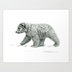 Polar bear's cub   B/W bis G2011-16 Art Print