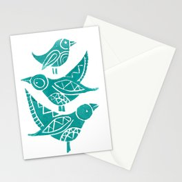 Handmade Block Print of Turquoise Birds Stationery Cards